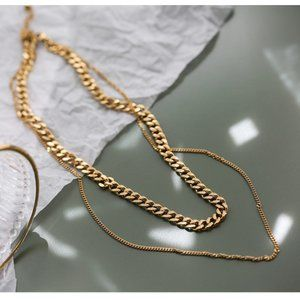 18K Gold Plated Double Layer Link Chain Necklace